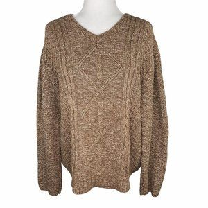 Cabela's Cotton Fisherman Cable Knit Sweater Brown